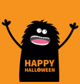screaming monster fluffy body silhouette looking vector image vector image