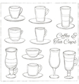set coffee and tea cups decorative icons set vector image