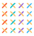 set color cross brushstroke paint vector image