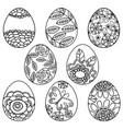 set of easter eggs with flower vector image