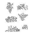 simple set of wine icons line art includes such vector image vector image