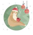 sloth drinking coffee vector image vector image