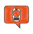 speech bubble with cellphone icon vector image vector image