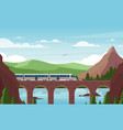 speed train on stone bridge flat vector image vector image