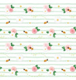 summer floral seamless pattern roses chamomiles vector image vector image