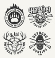 vintage monochrome hunting prints vector image vector image