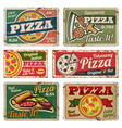 vintage pizza metal signs with grunge texture vector image vector image