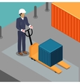 Warehouse Worker with Container on Forklift vector image vector image