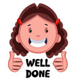 well done girl emoji on white background vector image vector image