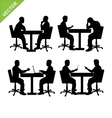 Business man meeting silhouette vector image
