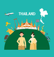 traveling to thailand by landmarks map vector image