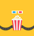 3d paper red blue glasses and popcorn box film vector image vector image