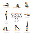 8 yoga poses for exercise infographic vector image