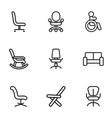 9 armchair icons vector image vector image
