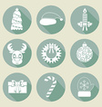A set of Christmas icons Retro colors Flat design vector image