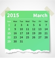 Calendar march 2015 colorful torn paper vector image vector image