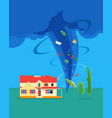 cartoon tornado or hurricane destroy house vector image vector image