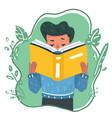 cartoon young boy reading book or vector image vector image