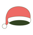 christmas cap santa claus on color section vector image vector image