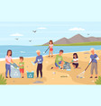 collect beach garbage parents with children clean vector image