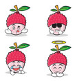 collection set of lychee cartoon character style vector image vector image