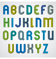 Colorful binary cartoon font rounded upper case vector image vector image