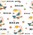 cute cartoon toucan seamless pattern vector image