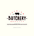 decorative sans serif font and label for butchery vector image