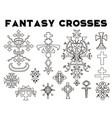 design set with fantasy crosses 3 vector image vector image