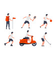 different activities - hike play ride golf vector image vector image
