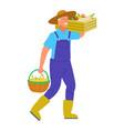 farmer carrying basket full fresh vegetables vector image vector image