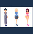 fashionable girls set summer mode collection cloth vector image vector image