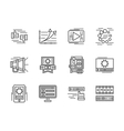 Flat line media icons set vector image vector image