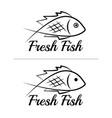 fresh fish logo symbol sign black colored set 3 vector image vector image