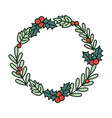 garland holly berry leaves merry christmas vector image vector image