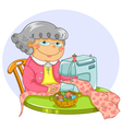 granny sewing vector image vector image