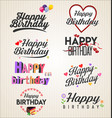 happy birthday typographic background retro vector image