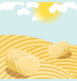 Hay bales on rural field sunny day vector image
