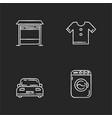 household chalk white icons set on black vector image