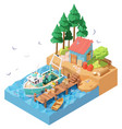 isometric fisherman unloading catch vector image