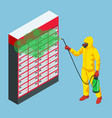 isometric man wearing a protective suit disinfects vector image