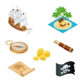 Isometric Pirate accessories flat icons vector image vector image
