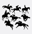 Jockey riding horse silhouette vector image vector image