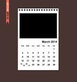 March 2014 calendar vector image vector image
