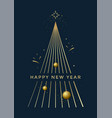 new year greeting card design with christmas tree vector image vector image