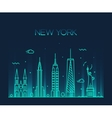 New York City skyline silhouette line art style vector image vector image