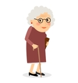 Old woman with cane vector image vector image