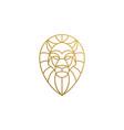 outline emblem geometric lion head hand drawn vector image vector image