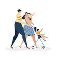 parents walking with kids vector image