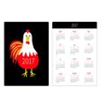 Pocket calendar 2017 Red Rooster vector image vector image